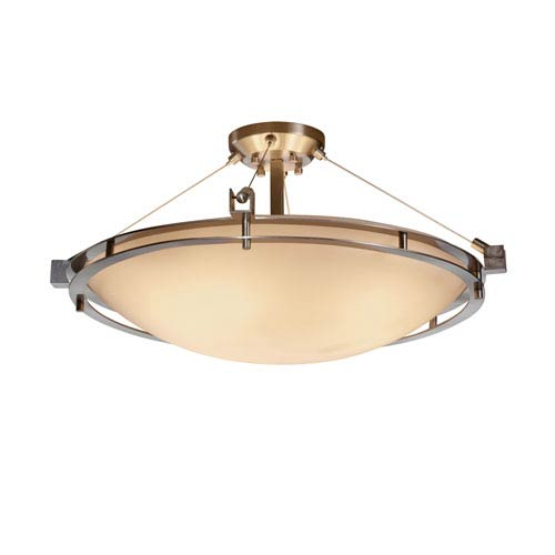Justice Design Group Porcelina Brushed Nickel Six-Light 24-Inch Wide Round Semi-Flush Bowl with Smooth Shade