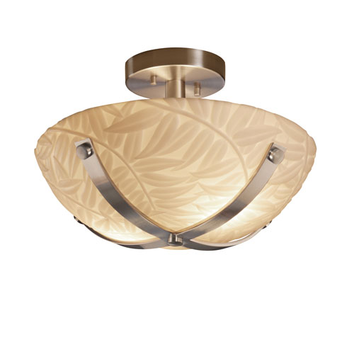 PorcelinaNickel Two-Light 14-Inch Wide Round Semi-Flush Bowl with Crossbar and Bamboo Shade