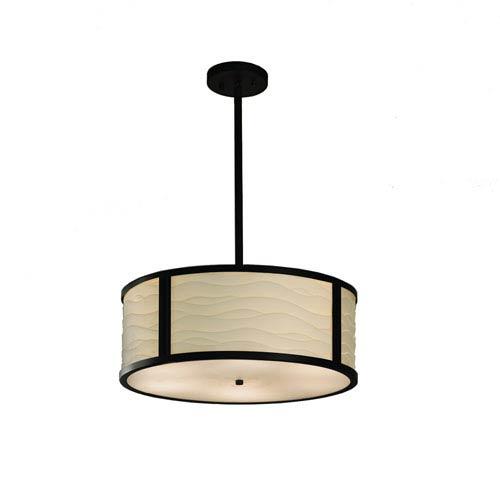Porcelina  Matte Black 18-Inch LED Drum Pendant