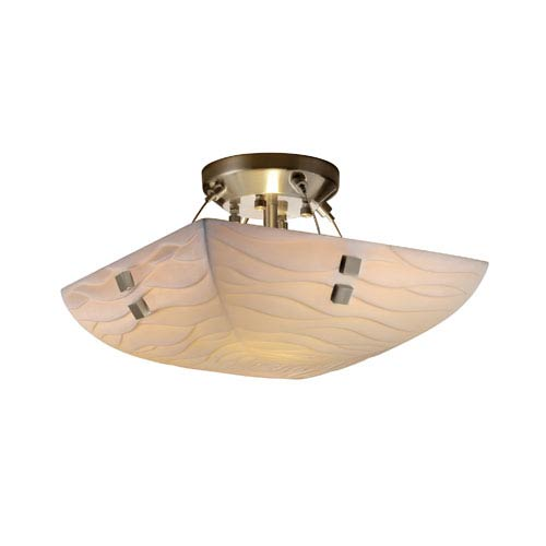 Porcelinaickel Two-Light 14-Inch Wide Square Semi-Flush Bowl with Pair of Square Finials and Waves Shade