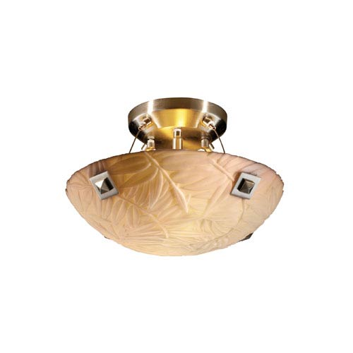 Porcelinaickel Two-Light 14-Inch Wide Round Semi-Flush Bowl with Large Square Point Finials and Bamboo Shade