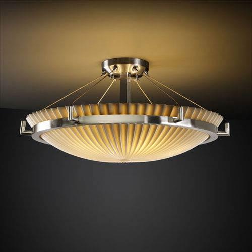 Porcelina Ring 24-Inch Six-Light Brushed Nickel Round 5000 Lumen LED Semi-Flush Mount With Ring