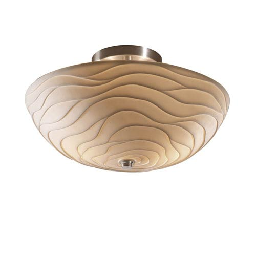 Porcelina Brushed Nickel Two-Light 14-Inch Wide Round Semi-Flush Bowl with Waves Shade