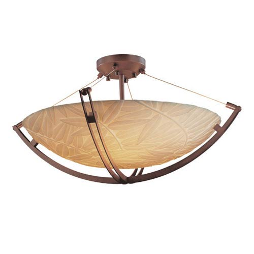 Justice Design Group Porcelinae Eight-Light 48-Inch Wide Round Semi-Flush Bowl with Crossbar