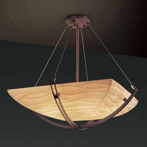 Porcelina Crossbar Six-Light Dark Bronze 5000 Lumen LED Pendant Bowl With Crossbar
