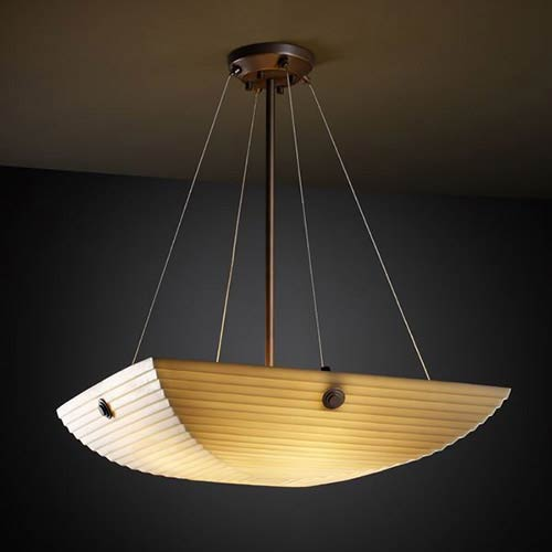 Porcelina Dark Bronze Three-Light 18-Inch Square Bowl Pendant with Concentric Circles and Sawtooth Shade