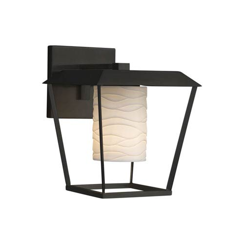 Justice Design Group Limoges - Patina Matte Black 12-Inch LED Outdoor Wall Sconce with Off-White Wavy Translucent Porcelain