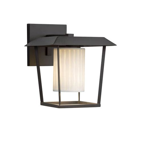 Justice Design Group Limoges - Patina Matte Black LED Outdoor Wall Sconce with Off-White Waterfall Translucent Porcelain
