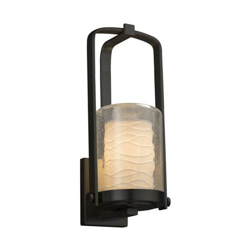 Justice Design Group Limoges - Atlantic Matte Black 13-Inch LED Outdoor Wall Sconce with Off-White Wavy Translucent Porcelain