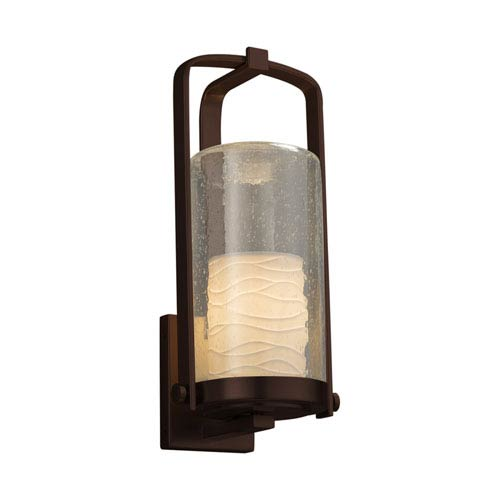 Justice Design Group Limoges - Atlantic Dark Bronze 17-Inch LED Outdoor Wall Sconce with Off-White Wavy Translucent Porcelain