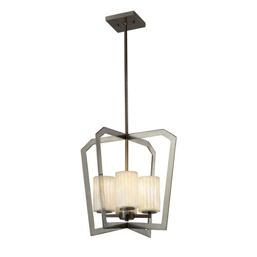 Justice Design Group Limoges - Aria Brushed Nickel Four-Light Chandelier with Off-White Translucent Porcelain