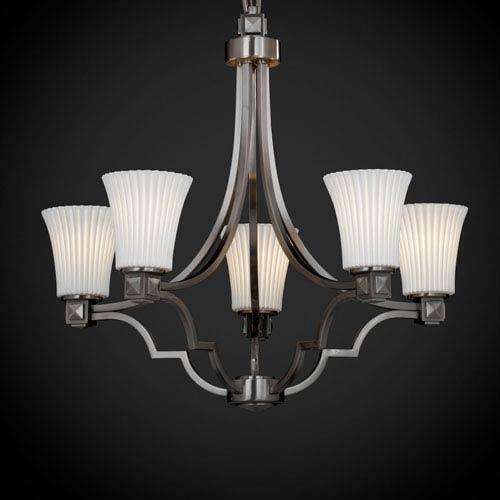 Justice Design Group Limoges Argyle Five-Light Brushed Nickel Chandelier