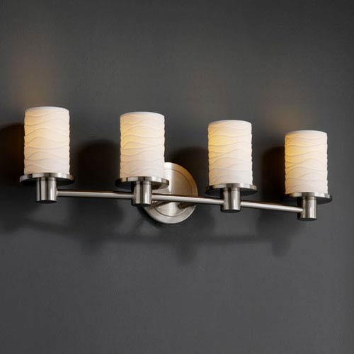 Justice Design Group Limoges Rondo Four-Light Brushed Nickel Bath Fixture