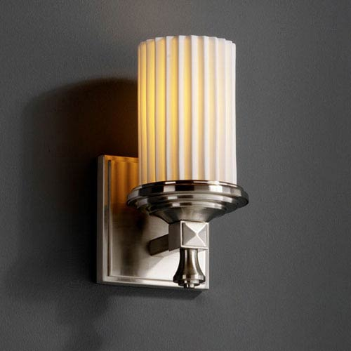 Justice Design Group Limoges Deco Brushed Nickel Wall Sconce