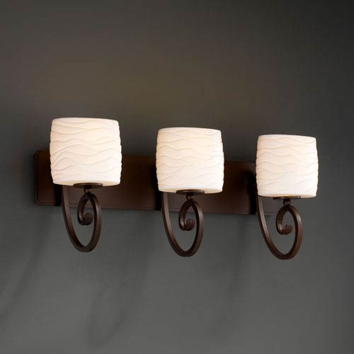 Justice Design Group CNDL-8573-10-AMBR-DBRZ Candlearia Collection Victoria 3-Light Bath Bar