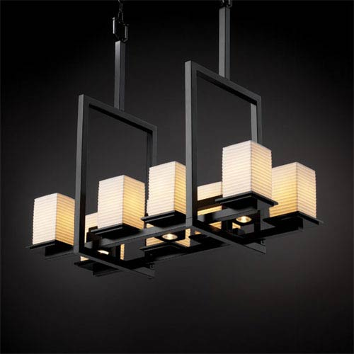 Justice Design Group Limoges Montana 8-Up and Three-Downlight Matte Black Bridge Chandelier