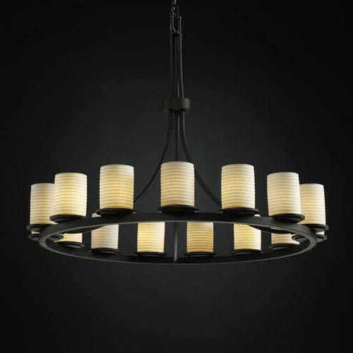 Justice Design Group Limoges Dakota 15-Light Matte Black One-Tier Ring Chandelier
