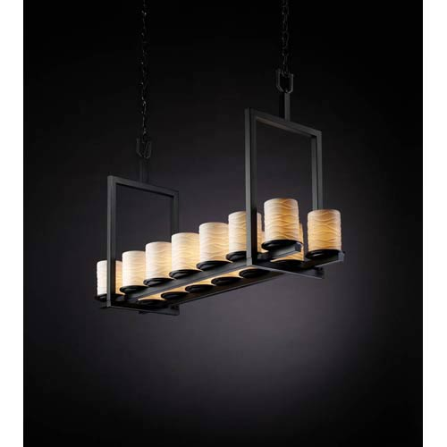 Justice Design Group Dakota Matte Black Waves Fourteen-Light Short Bridge Chandelier
