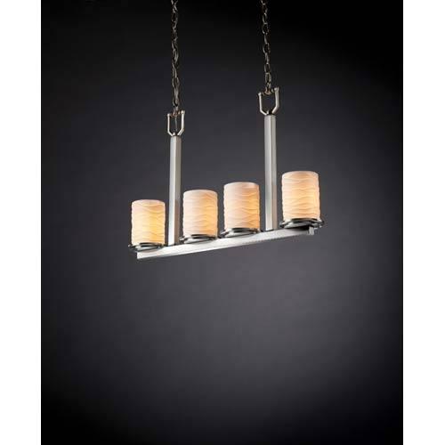 Justice Design Group Dakota Brushed Nickel Waves Four-Light Bar Chandelier