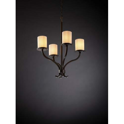 Sonoma Dark Bronze Pleats Four-Light Chandelier