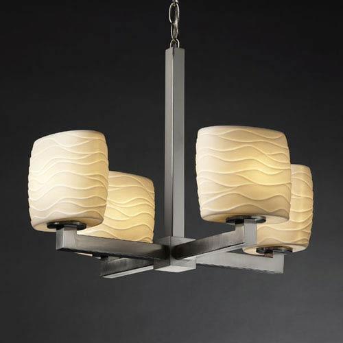Justice Design Group Limoges Modular Four Light Brushed Nickel Chandelier