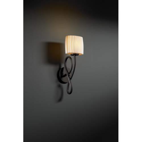 Justice Design Group Capellini Dark Bronze Pleats Single-Light Wall Sconce