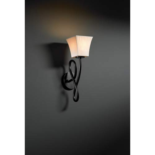 Justice Design Group Capellini Matte Black Waterfall Single-Light Wall Sconce
