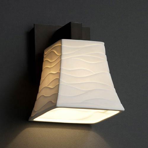 Justice Design Group Limoges Dark Bronze One-Light Sconce with Flared Square Wave Porcelain Shade