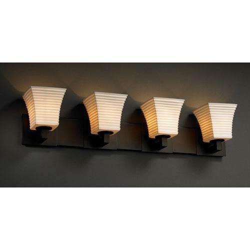 Justice Design Group Limoges Dark Bronze Modular 4-Light Bath Bar with Flared Sqare Sawtooth Porcelain Shades
