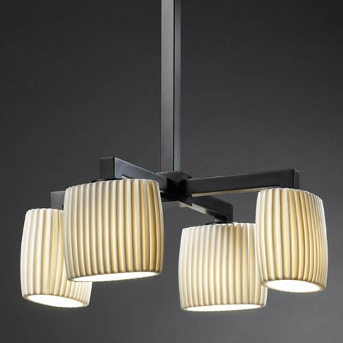 Justice Design Group Limoges Matte Black Four Down-Light Chandelier with Pleated Oval Shades
