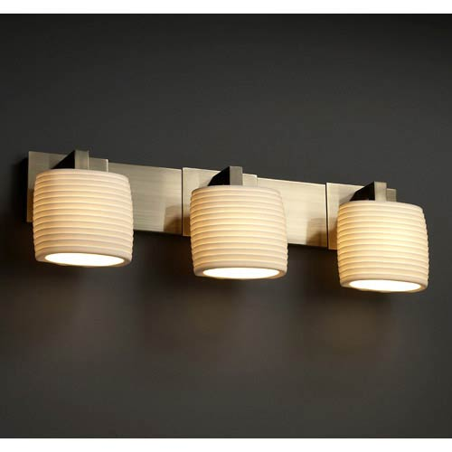 Justice Design Group Limoges Antique Brass Three-Light Bath Bar with Oval Sawtooth Porcelain Shades