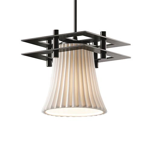 Limoges Matte Black One-Light Round Flared Mini Pendant with Two Flat Bar and Pleats Shade