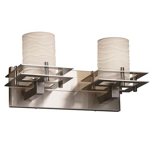 Limoges Brushed Nickel Two-Light Bath Bar with Waves Shade