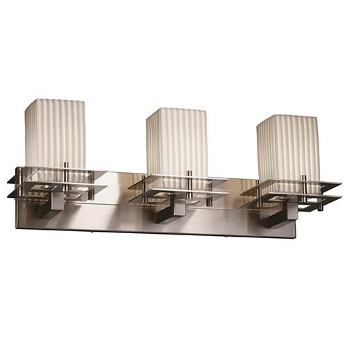 Limoges Brushed Nickel Three-Light Bath Bar with Pleats Shade