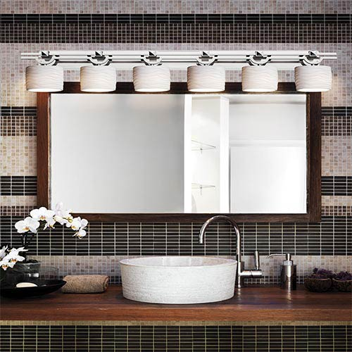 Limoges Polished Chrome Six-Light Bath Bar