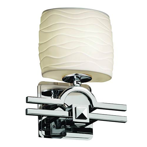 Justice Design Group Limoges Argyle Polished Chrome One-Light Oval Wall Sconce with Waves Shade