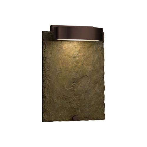 Justice Design Group Slate - Litho Dark Bronze LED Outdoor Wall Sconce with Earth Natural Slate