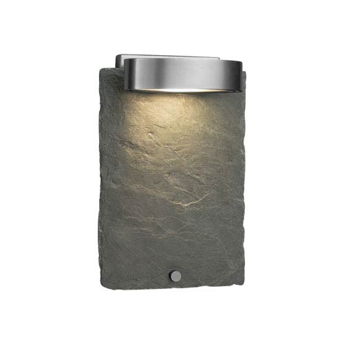 Justice Design Group Slate - Litho Brushed Nickel LED Outdoor Wall Sconce with Natural Slate