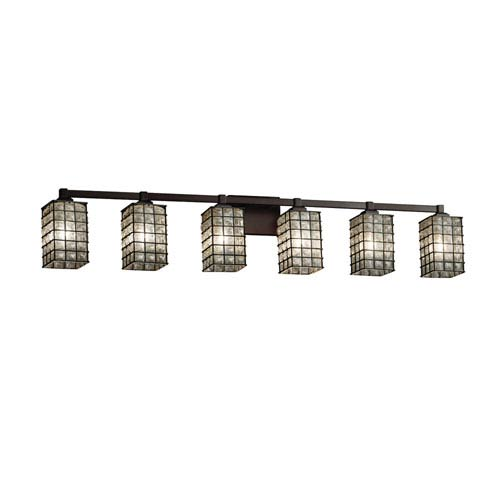 Wire Glass - Regency Dark Bronze Six-Light LED Bath Vanity with Grid and Clear Bubbles Wire Cage and Blown Glass