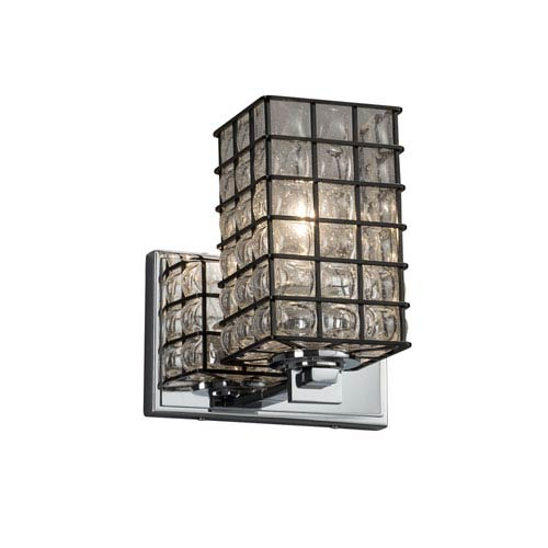 Justice Design Group Wire Glass - Era Polished Chrome One-Light Wall Sconce with Grid and Clear Bubbles Wire Cage and Blown