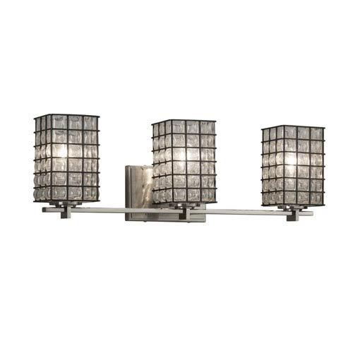 Justice Design Group Wire Glass - Era Brushed Nickel Three-Light LED Bath Vanity with Grid and Clear Bubbles Wire Cage and