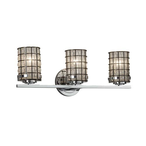 Justice Design Group Wire Glass - Atlas Polished Chrome Three-Light LED Bath Vanity with Grid and Clear Bubbles Wire Cage and