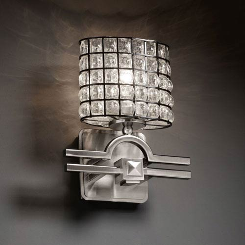 Wire Glass Argyle Brushed Nickel Wall Sconce