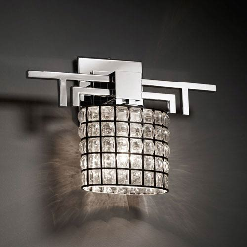 Justice Design Group Wire Glass Aero Polished Chrome Wall Sconce