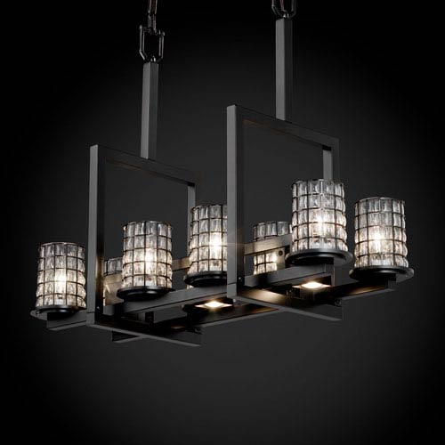 Justice Design Group Wire Glass Dakota 8-Up and Three-Downlight Matte Black Bridge Chandelier