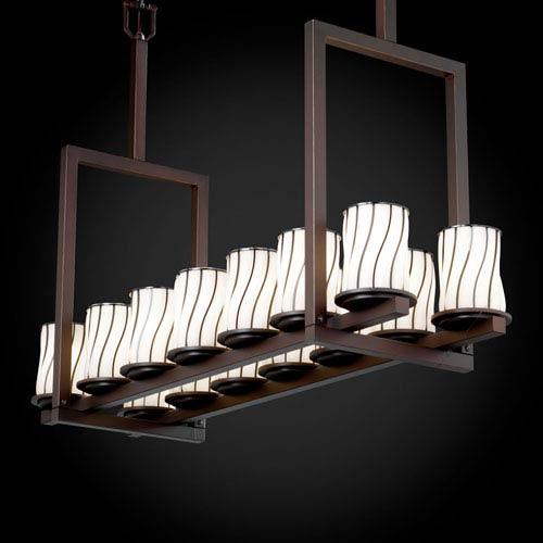 Justice Design Group Wire Glass Dakota 14-Light Dark Bronze Tall Bridge Chandelier