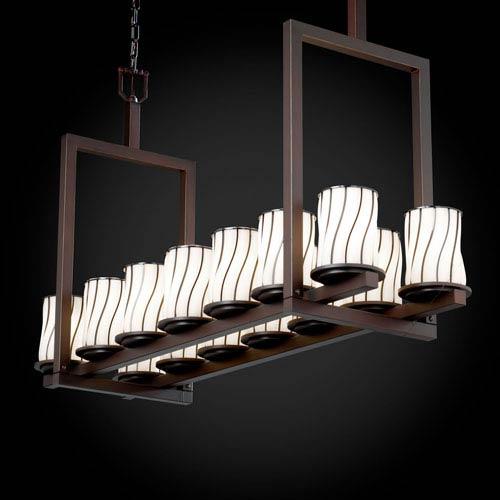 Justice Design Group Wire Glass Dakota 14-Light Dark Bronze Short Bridge Chandelier
