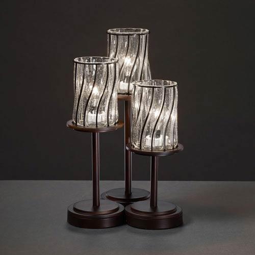Wire Glass Dakota Three-Light Dark Bronze Table Lamp