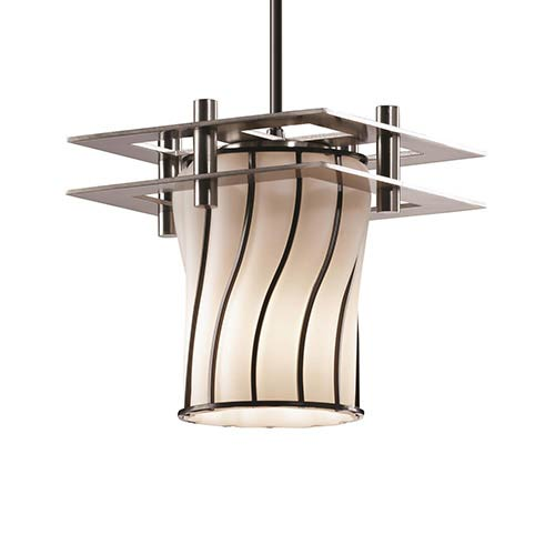 Wire Glass Brushed Nickel One-Light Flat Rim Cylinder Mini Pendant with Two Flat Bar and Swirl Opal Glass