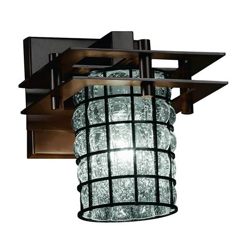 Wire Glass Matte Black One-Light Flat Rim Cylindrical Wall Sconce with Clear Bubble Glass